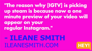 """If you're just starting [with live streaming], believe it or not, I'll say start with YouTube."" - ILEANE SMITH ILEANESMITH.COM"